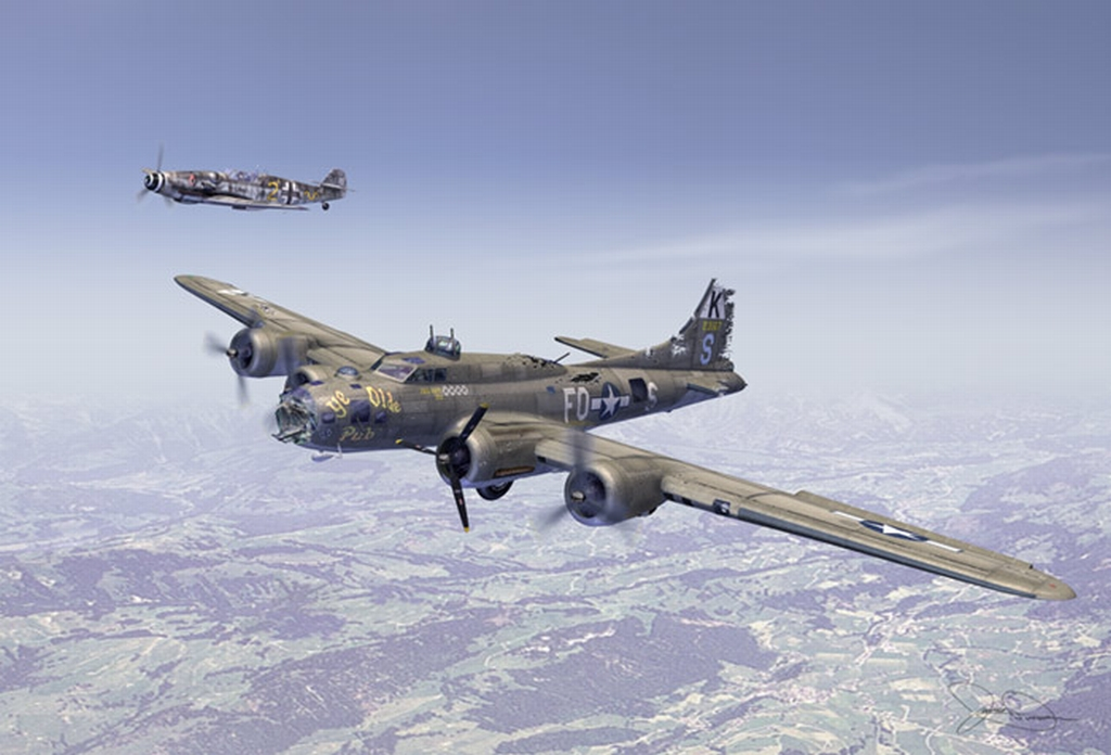 http://www.waltsrchanger.com/B-17F_Ye_Olde_Pub_in_front___Bf_109_In_back_as_escort.jpg