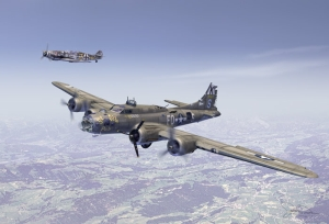 B-17F Ye Olde Pub in front & Bf 109 In back as escort