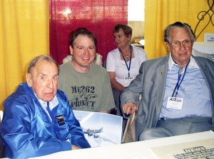 This photo  was taken at the Wings of the North Airshow in July 2004.  Franz Stigler is on the left, Charles Brown right, Artist Jamie Iverson center.